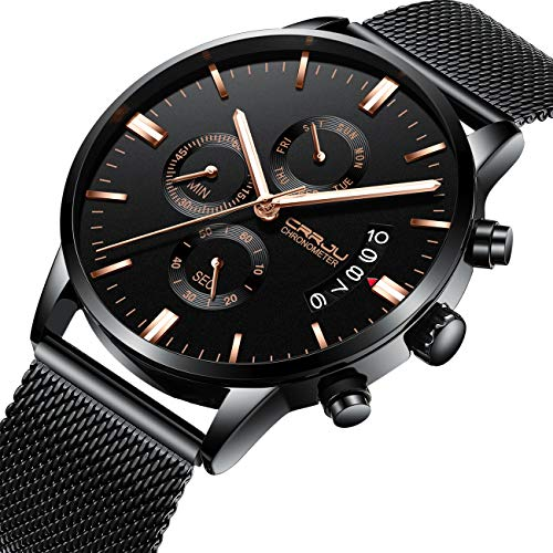 Affute Men's Quartz Analog Watch Stainless Steel Strap with Date Chronograph (Mesh Black) ()