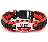 Diabetic Awareness Medial Alert Paracord Bracelet, 8.5 Inch (Type 2 Diabetic)
