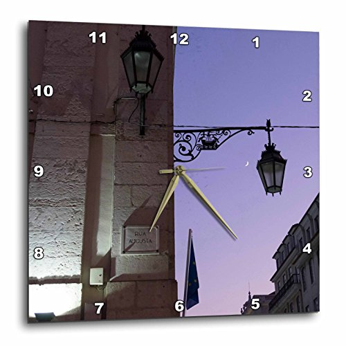 3dRose Danita Delimont - Lisbon - Portugal, Lisbon. Wrought iron street lights along Rua Augusta. - 15x15 Wall Clock (dpp_249443_3) (Augusta Fifteen Light)