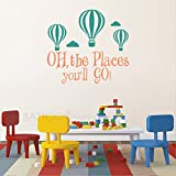 BATTOO Oh The Places You'll Go Wall Decal Nursery - Hot Air Balloons Wall Decal Nursery Decor - Wall Decal Kids Nursery Quotes - Wall Decal Boys or Girls(orange+teal, 40''WX36.5''H)