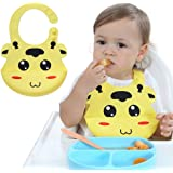 Silicone Baby Bibs, Kekemonkey Baby Drool Bibs Feeding Pocket Bibs BPA Free Waterproof Comfortable Soft Bibs Easily Clean After Meal for Unisex Infant Babies Or Toddlers (6 to 48 Months) Yellow