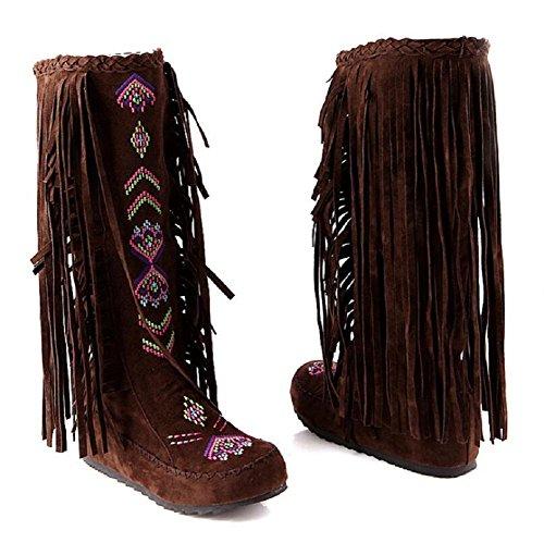 Alto-rodilla talón plano tamaño franja botas Net hilado terciopelo helado zapatos de las mujeres brown