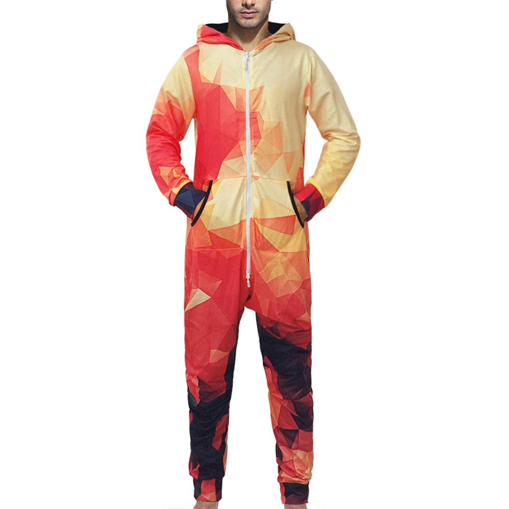 GREFER Clearance! Men Family 3D Printed Jumpsuit Adult Sleepwear Nightwear Romper