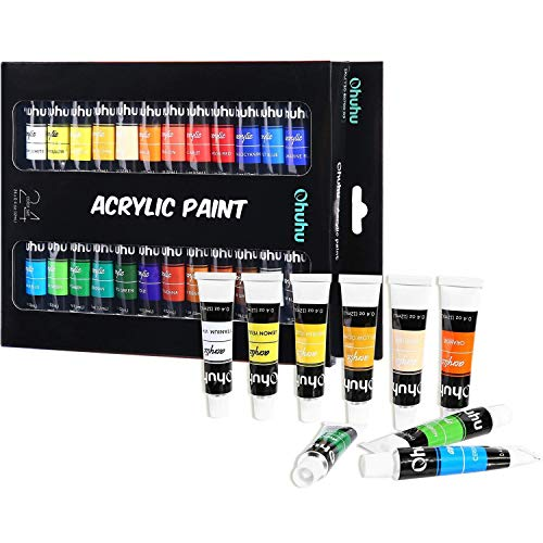 Acrylic Paint Set, 24 Colors of Ohuhu Artist's Acrylic Painting Kit Acrylic Paints for Stone, Canvas, Wood, Clay, Fabric, Nail Art, Ceramic, Crafts, 12ml x 24 Tubes]()