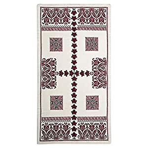 Cotton Classic Handmade Cross Stitch Runner - Maroon And Black