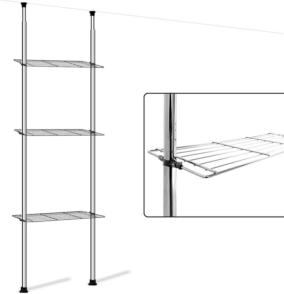 Deuba Estanter/ía telesc/ópica con 3 estantes de Acero Cromado Altura Ajustable 180-270 cm pies Antideslizante Cocina ba/ño