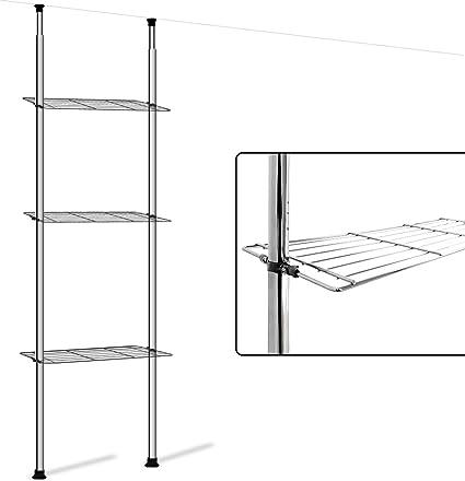 Deuba Estantería telescópica con 3 estantes de acero cromado altura ajustable 180-270 cm pies antideslizante cocina baño