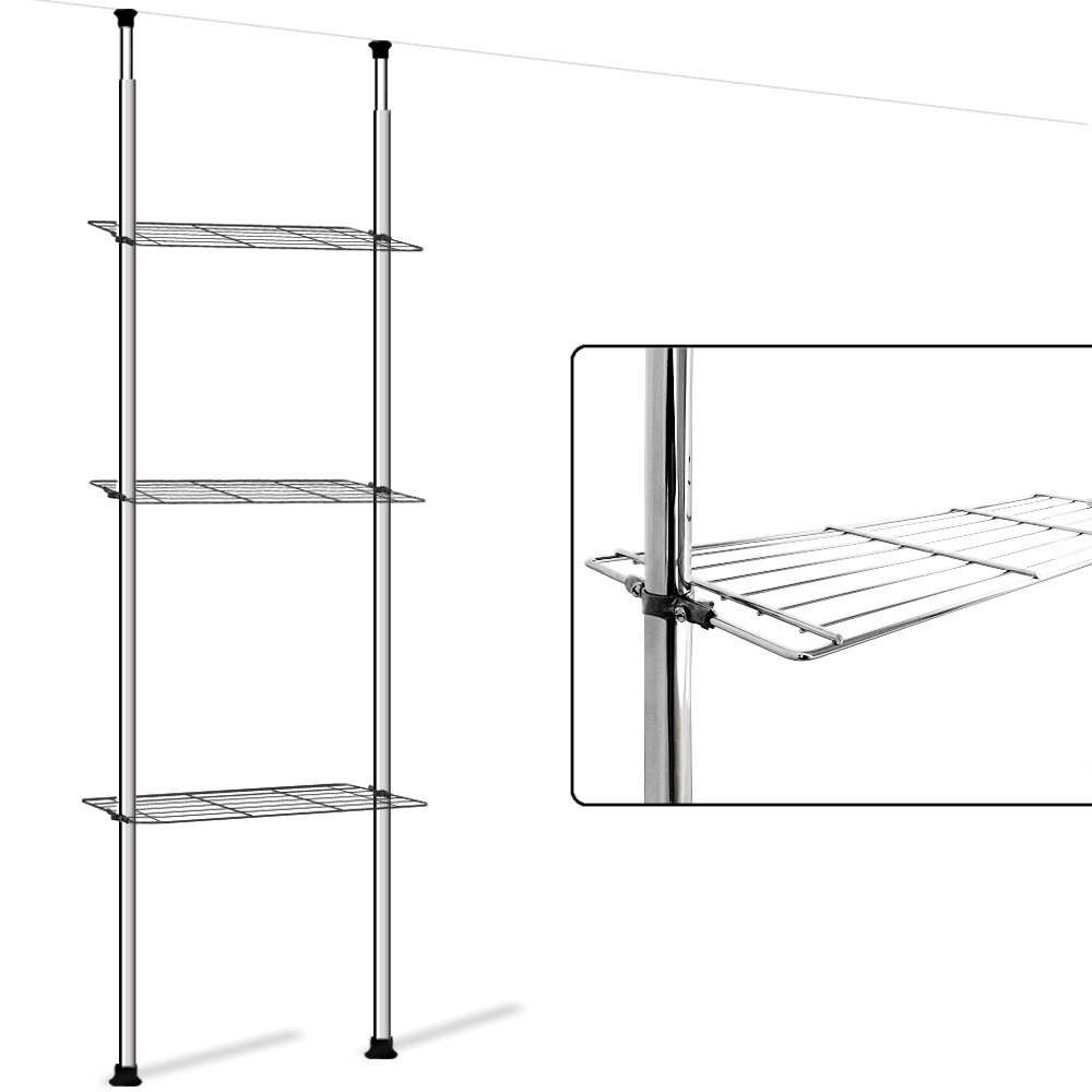 Deuba® Telescopic Storage Shelf Chrome Shelving Unit Steel Bookcase Rack Bathroom Kitchen Extendable Interlocking Display Bookshelf Room Divider 3 or 4 Tiers– No Drilling Required - 173 to 270cm