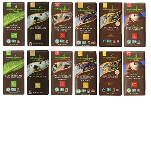 Endangered Variety Pack 6 Flavors (Pack of 12) (Dark Choc with Lemon , Dark Choc w Sea Salt & Almonds, Dark Choc w Cherry, Rain Forest Dark Mint, Wolf Dark ()