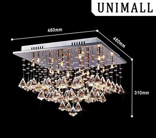 Unimall Lámparas de Araña de Cristal mini Luces de Techo LED Acero inoxidable con Cascada de Gotas Flotantes Ideal para Bedroom Living Room Habitación ...