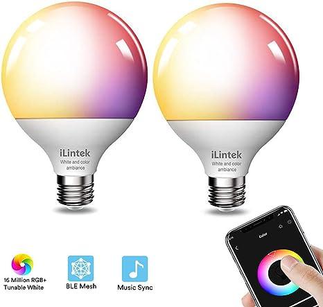 sur des pieds à vente pas cher remise spéciale Ampoule Connectee E27,iLintek Ampoule LED Intelligente 13W (100 W  équivalentes),G95 Bluetooth Lumiere de Controle,Couleur RGB+ Blanc ...