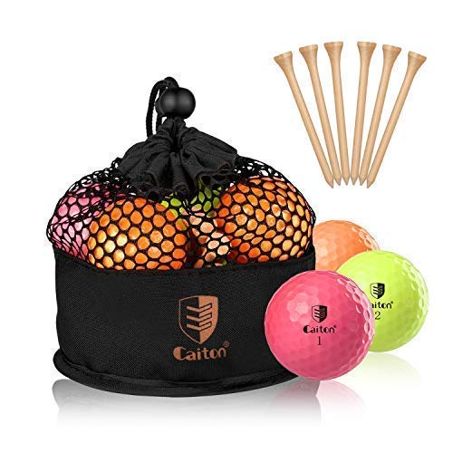 CAITON Golf Balls Colored, Matte Finish Multi-Color Long Distance Golf Balls for Woman Green Pink Yellow 3 Color 3/4 Dozen with Golf Tees