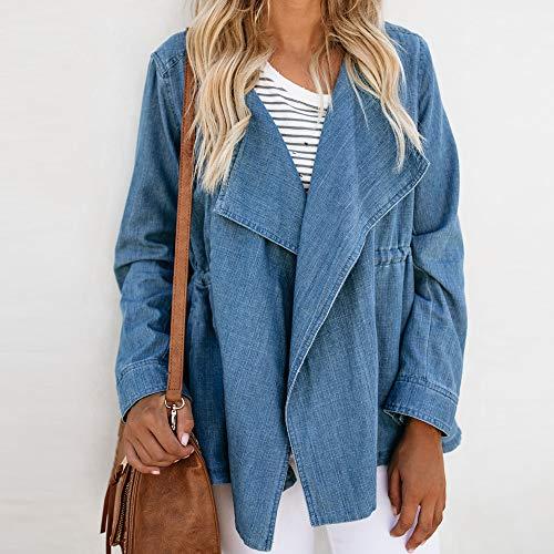 Manteau Cowboy de Longues Veste Blazer Blouse GreatestPAK Bleu Femmes Manches Dbardeurs Mode de Automne T Shirt qI55A