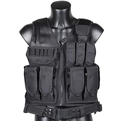 CVLIFE Adjustable Hunting Military Molle Style Tactical Vest with 9 Pouches and Pistol Holster