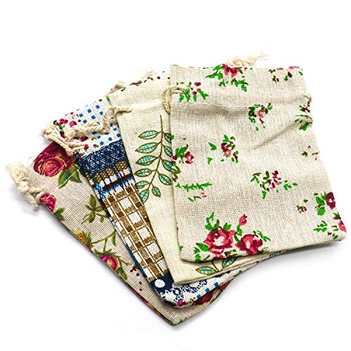 IDS 20Pcs Floral-Cotton Drawstring Pouch/Jewelry Wedding Party Favor Gift Wrap Bags DIY Craft Wedding Party -