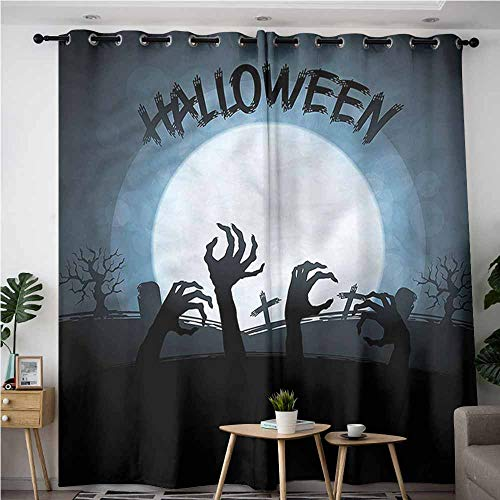 AndyTours Grommet Curtains,Halloween Zombie Hands Out Grave,Room Darkening, Noise Reducing,W72x108L -
