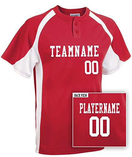 (Youth Custom Baseball 2-Button Jersey, Personalize with YOUR Names & Numbers-M)