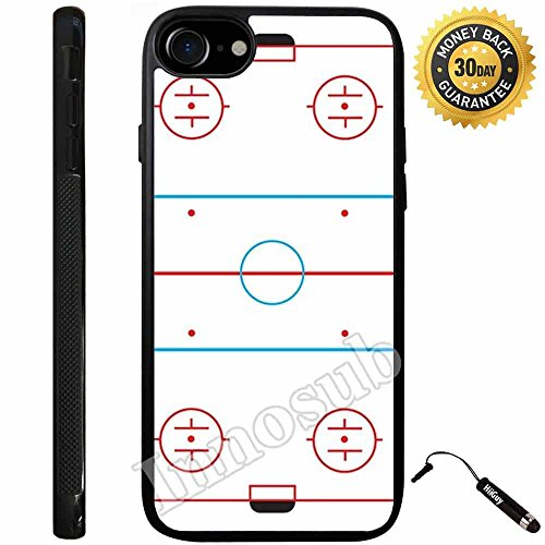 Custom iPhone 7 Case (Ice Hockey Rink) Edge-to-Edge Rubber Black Cover with Shock and Scratch Protection | Lightweight, Ultra-Slim | Includes Stylus Pen by Innosub