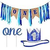 ZITA ELEMENT 1st Birthday Boy Decorations 1st Birthday Girl Decorations Baby Birthday Party Supplies, Banner+Crown+Cake Topper in Blue