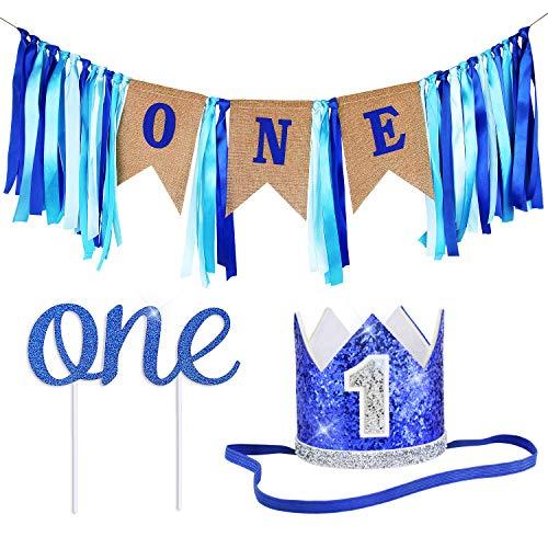 ZITA ELEMENT 1st Birthday Boy Decorations/1st Birthday Girl Decorations/Baby Birthday Party Supplies, Banner+Crown+Cake Topper in Blue