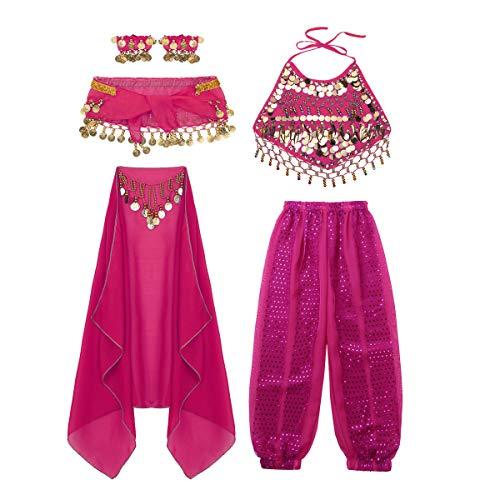inlzdz Kids Girls India Belly Dance Kit Shiny
