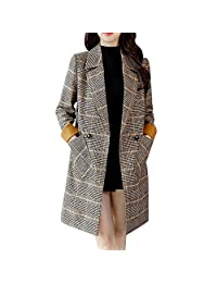 Pervobs Women Vintage Plaid Long Sleeve Button Woolen Pocket Jacket Coat Outwear