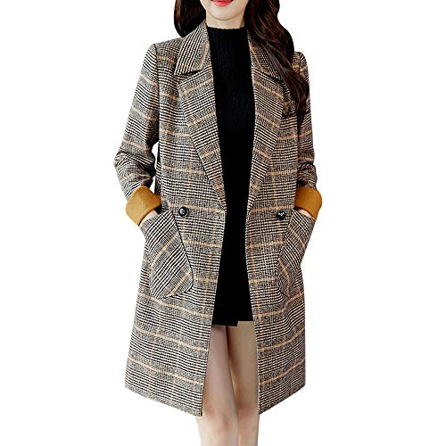 - Women Plaid Vintage Coat Long Sleeve Button Woolen Jacket Coat Trench Coats