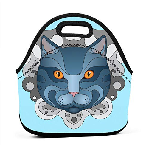 Lunch Boxes for Kids-British Shorthair Cat Lunch Bags for Girls Lunchbox Adult Small Womens Lunch Food Bag Totes for Camping Travel