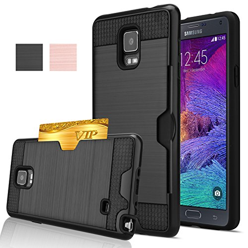 Note 4 Case, Galaxy Note 4 Case, AnoKe [Credit Card Slots Holder][Not Wallet] Hard Silicone Rubber Hybrid Armor Shockproof Protective Holster Cover Case For Samsung Galaxy Note 4 - KLS Black