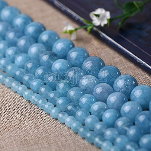 "Fricgore, Handmade Jewelry, 6/8/10/12mm Round Blue Brazilian Aquamarine Gemstones Loose Beads 15"" - (Beads Size: 10mm)"