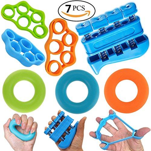 Hand Trainer Kit (Hand Exerciser Grip Strengtheners Workout Kit - Finger Strengthener Gripper for Guitar, Grip Strength Trainer, Finger Resistance Bands & Forearm Grip Ring Workout, Finger Exercise System (7 PCS))