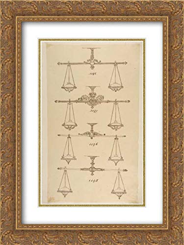 Anonymous Artist, French, 19th Century - 18x24 Gold Ornate Frame and Double Matted Museum Art Print - Four Designs for Hanging Light Fixtures