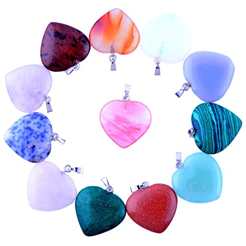 Heart Pendants 12pcs Big Love 0.98inch Charms Gems Crystal Heading Chakra Rock Stone Pendants DIY for Necklace Jewelry Making - Gemstone Heart Pendant Bead