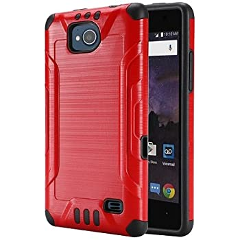 Phone Case for Straight Talk ZTE Majesty Pro 4G LTE Prepaid Smartphone,  Metallic Brush Finish Cover Case (Red)