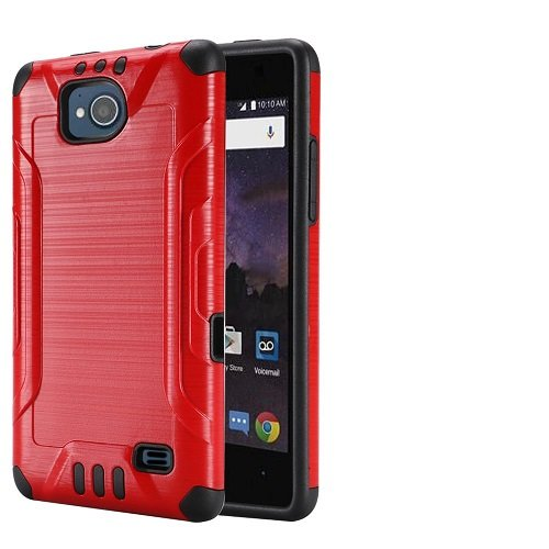 brand new 4fb68 51aba Phone Case for Straight Talk ZTE Majesty Pro 4G LTE Prepaid Smartphone,  Metallic Brush Finish Cover Case (Red)