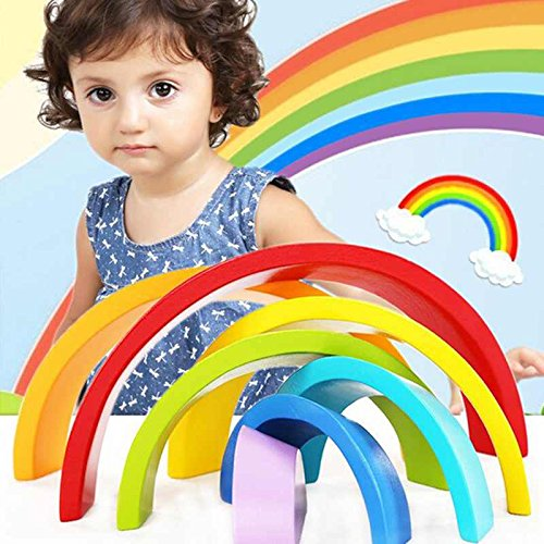 IPLAY&ITOY Wooden Rainbow Stacking Game Learning Toy Geometry Building Blocks Jigsaw puzzles Educational Toys for Kids Baby Toddlers by IPLAY&ITOY (Image #5)