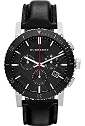 Burberry Black Dial Chronograph Black Leather Mens Watch BU9382
