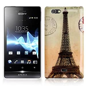 Rocina - Carcasa rígida para Sony Xperia Go St23i, diseño de la Torre Eiffel