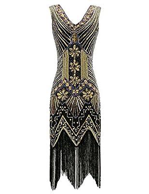 Belle Poque 1920S Sleeveless V-Neck Gatsby Dress Sequined Beaded Tassel Flapper Dresses BP622