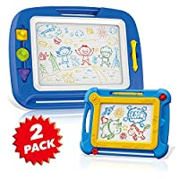 Magnetic Drawing Boards for Kids Erasable Colorful Kids Sketch Board for Writing Painting Sketching Large Size 16.5 Inch with a Bonus Color Doodle Sketch Pad Travel Size, Toy for Boys Girls Ages 3+