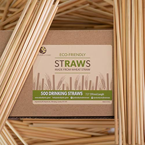 Naturally Chic Biodegradable Wheat Straws | 7.5 Inch Long Unwrapped Drinking Straws Made of Wheat Hay (Gluten Free) - Eco Friendly - Coffee, Restaurant, Bar, Party Bulk Straws - (1000 Pack)