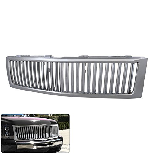 Chevy Silverado Chrome Luxury Sport Front Bumper Vertical Style Grill Grille Replacement (Chevy Silverado Vertical Grille)