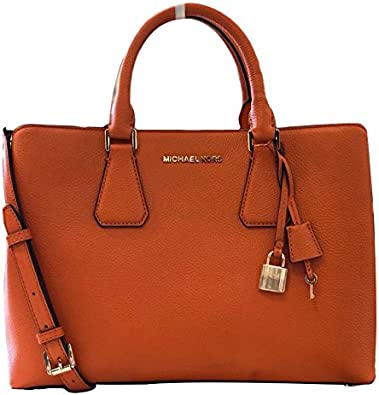 Michael Kors Camille LG Satchel Leather Tangerine