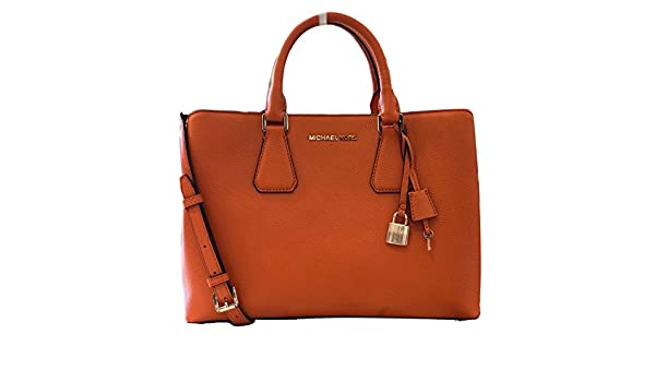 4aec2405181e Amazon.com: Michael Kors Camille LG Satchel Leather Tangerine (35S8GCAS3L):  Shoes