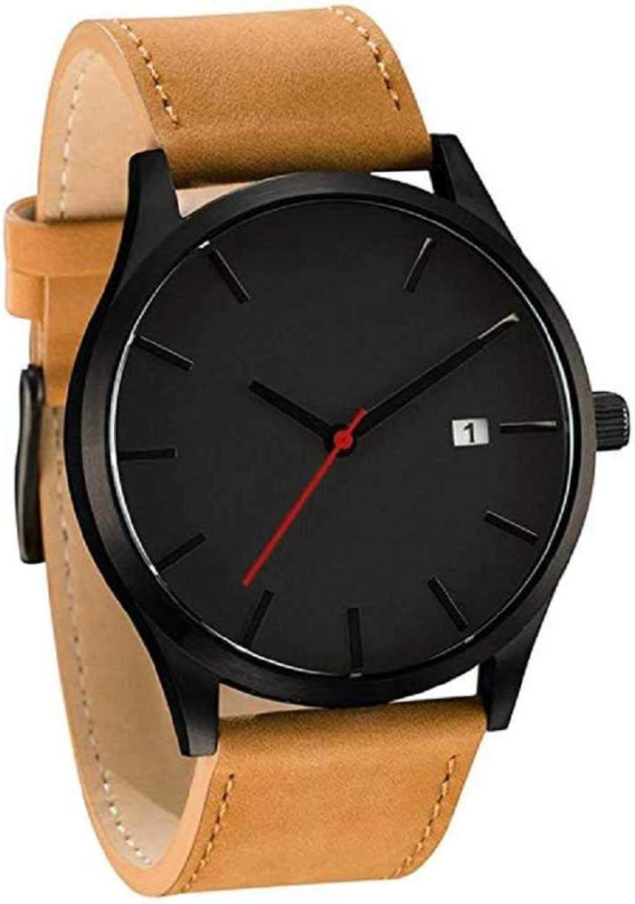 WSSVAN Gran dial reloj deportivo casual para hombres Calendario de hombres de bajo perfil popular cinturón de negocios mate reloj de cuarzo connotación minimalista reloj de cuero 0 (marrón)