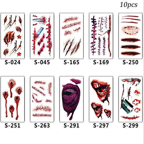 Halloween Scars Temporary Tattoos Zombie Bloody Fake Skin