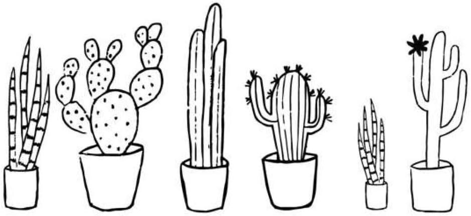 DLYD Cactus Conjunto Blanco y Negro Tatuajes de Pared Planta ...