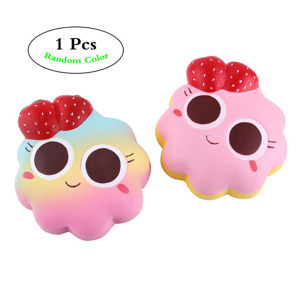 Anboor 5.5 Squishies Strawberry Cake Jumbo Kawaii Soft Slow Rising Scented Big Eyes Smile Squishies Stress Relief Kids Toys Color Random