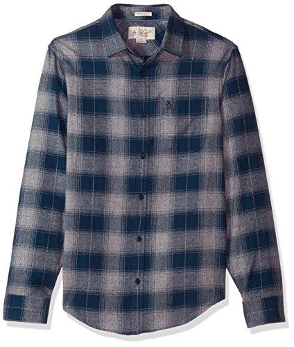 Original Penguin Men's Marled Herringbone Plaid Shirt, Dark Sapphire, Medium ()