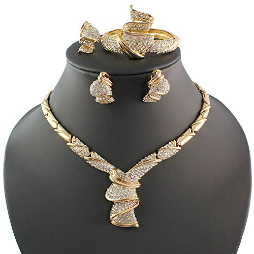 Party Necklace Set (Fashion Women 18k Gold Plated Africa Dubai Wedding Party Necklace Jewelry Set)